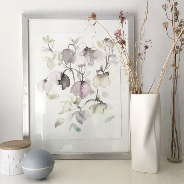 original watercolor, flowers, helleborus, feminin, watercolorart, decorative art, toril baekmark