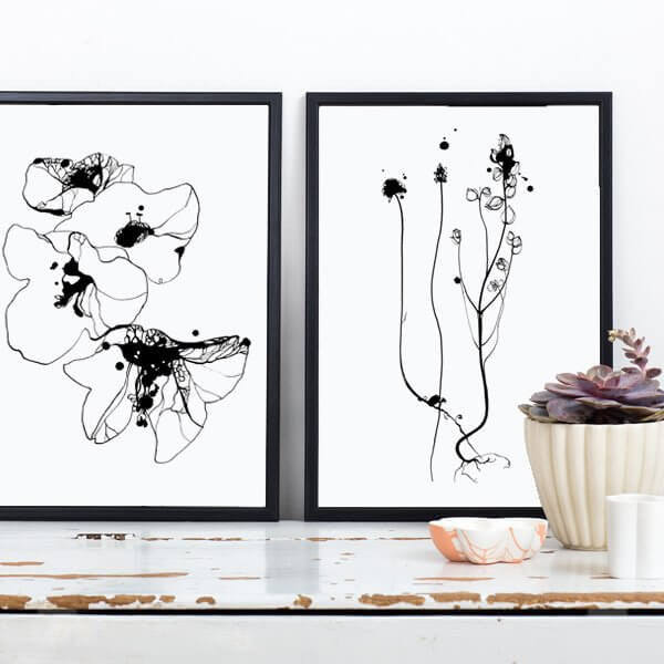 Flower Poster - Black Flowers1 21 X 30cm