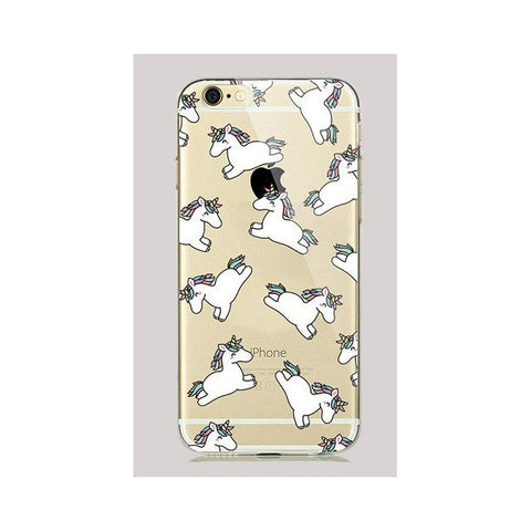 Soft Transparent Fashion Unicorn Clear Case Cover for iPhone7 - olae