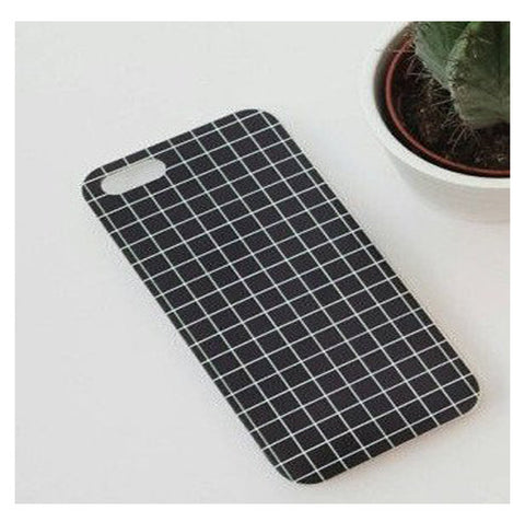 Fashion Grid Pattern for Iphone 7 7plus 6 6s silicon Case Black - olae