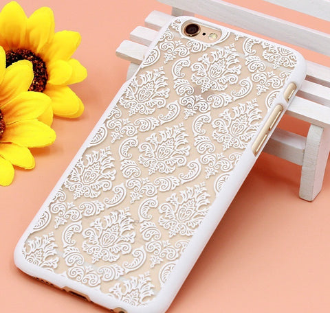 Iphone 7 White Vintage Flowers Pattern Case - olae