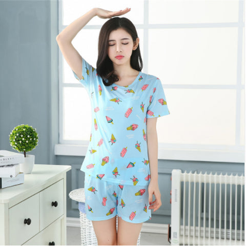 ICE CREAM PRINT PYJAMA SET - BLUE