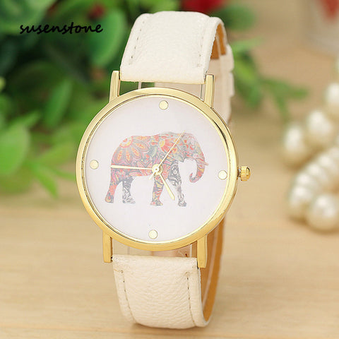 ELEPHANT PATTERN WRIST WATCH- WHITE