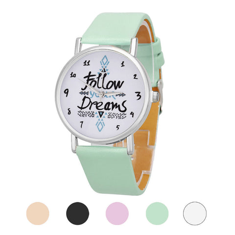 FOLLOW YOUR DREAMS  WRIST WATCH - MINT GREEN