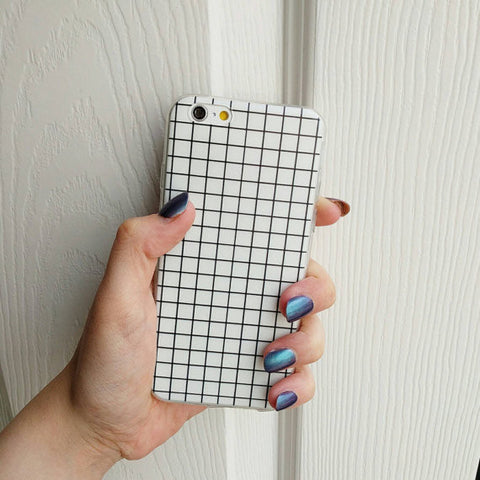 Fashion Grid Pattern Iphone 6 / 6s silicon Case white - olae