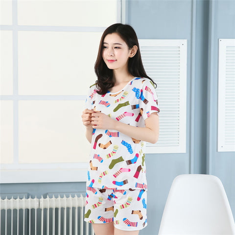 COLORFUL SOCKS PRINT PYJAMA SET