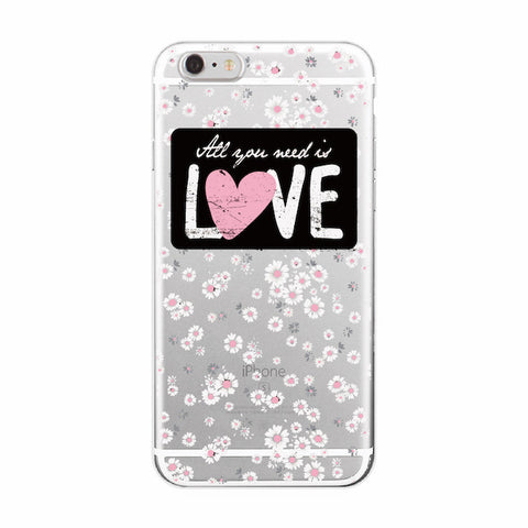 Iphone 7 Floral Pattern Transparent silicon Case - olae
