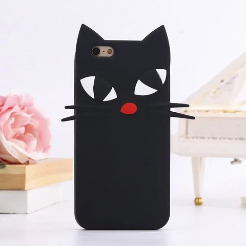 MUSTACHE CAT FACE SOFT SILICONE  CASE FOR IPHONE 7