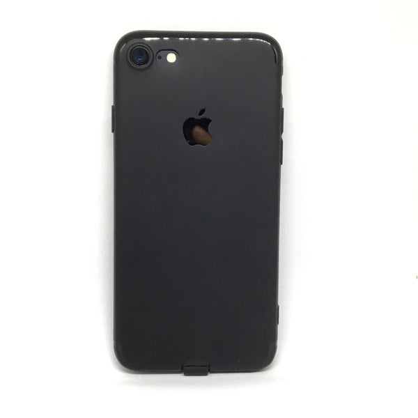 APPLE CUT LOGO RUBBER CASE FOR IPHONE 7- BLACK - olae