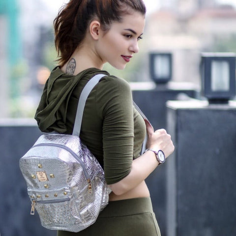 STUD BACKPACK - SILVER