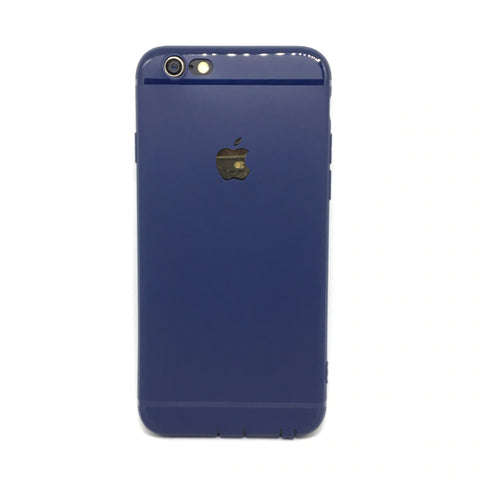 APPLE CUT LOGO RUBBER CASE FOR IPHONE 6 6S- BLUE - olae