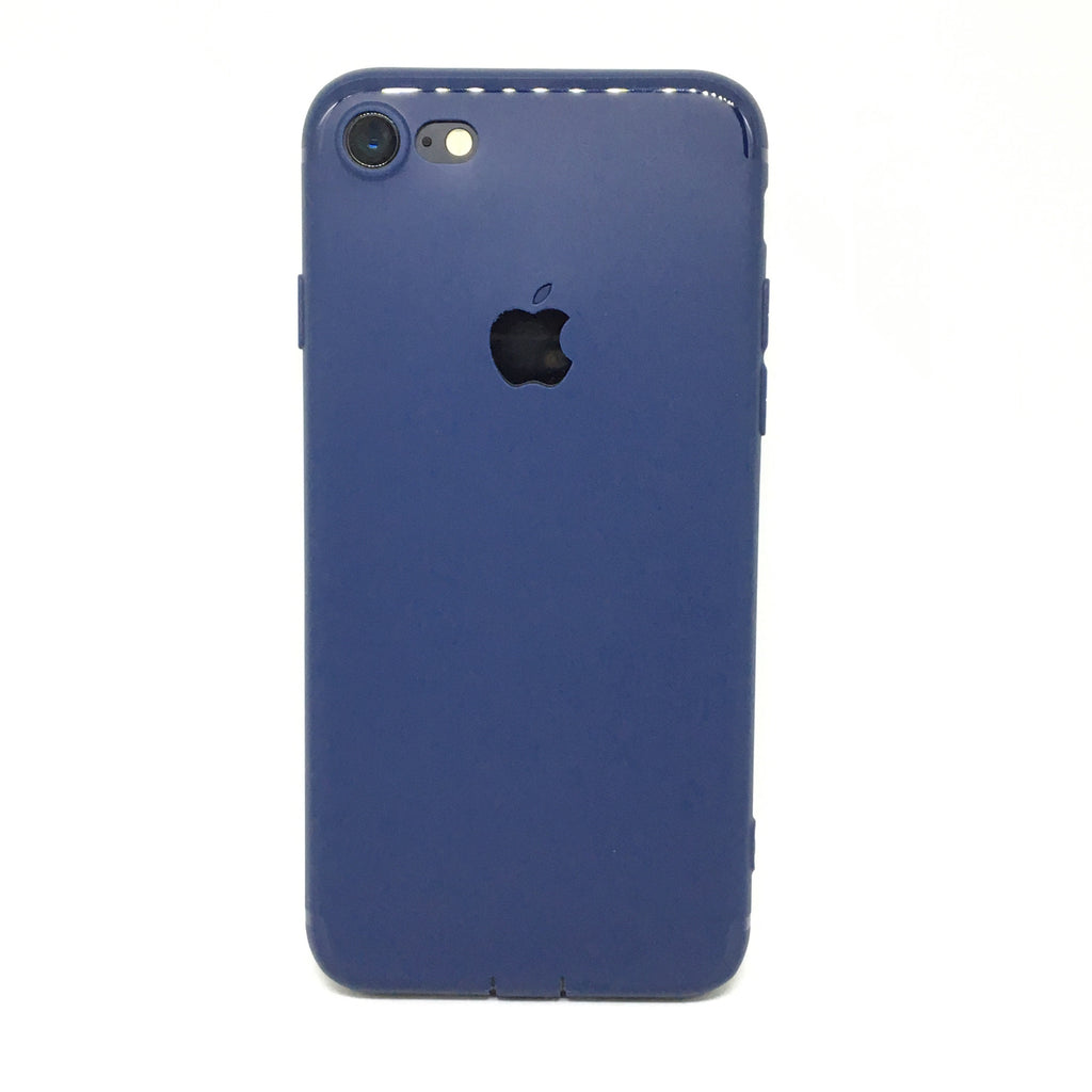 APPLE CUT LOGO RUBBER CASE FOR IPHONE 7- BLUE