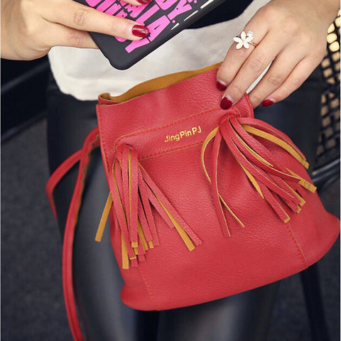 LEATHER CROSSBODY BAG- RED
