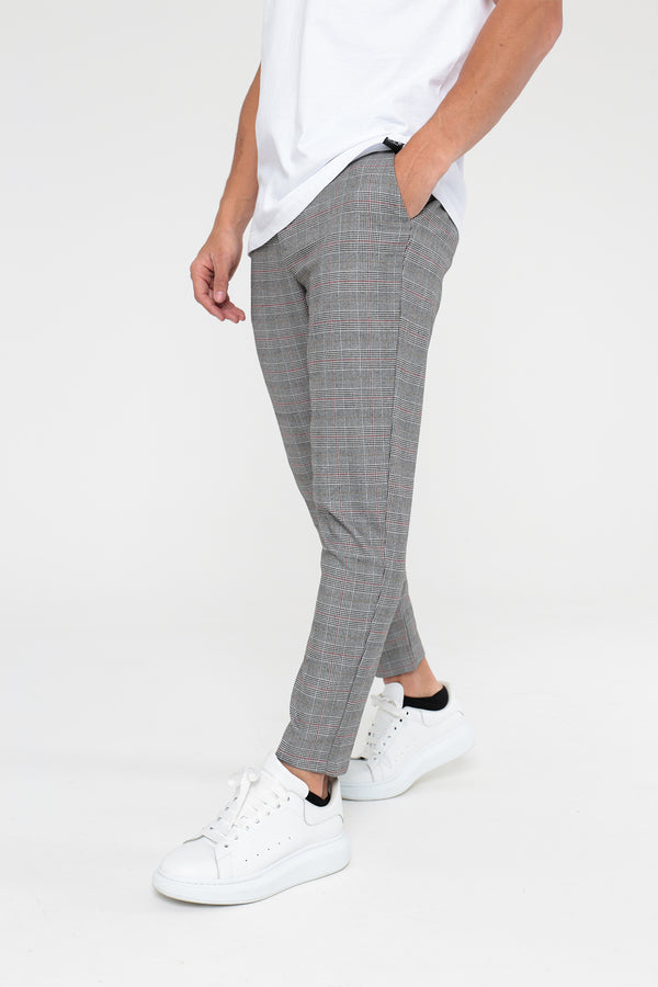 Prince Of Wales Trousers - Black/White/Red