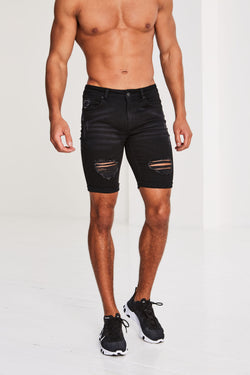 Kinver Ripped and Repaired Denim Shorts - Black