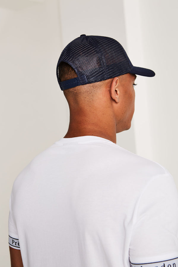 Mesh Trucker Cap - NAVY BLUE/RED
