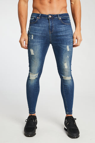 MEDIUM BLUE - RIPPED JEANS