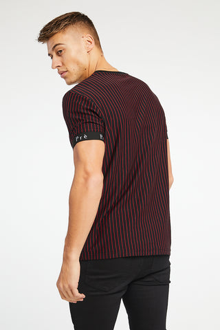 Energy Pinstripe T-Shirt - Black/Red