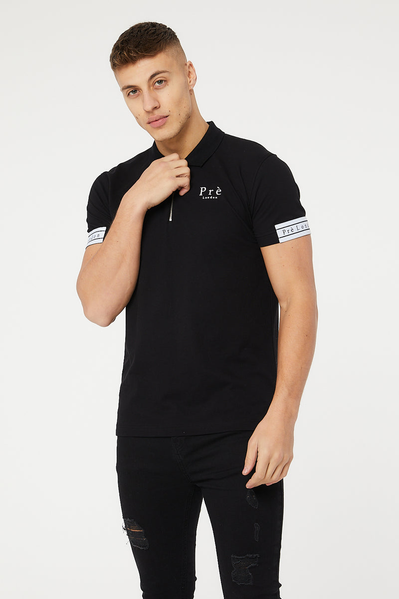 Stardom Quarter Zip Polo T-Shirt - Black