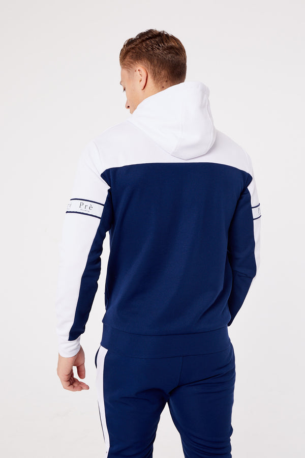 Eclipse Polyester Full Zip Hood- Navy/White