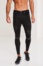Ripped and Repaired Jeans - Black