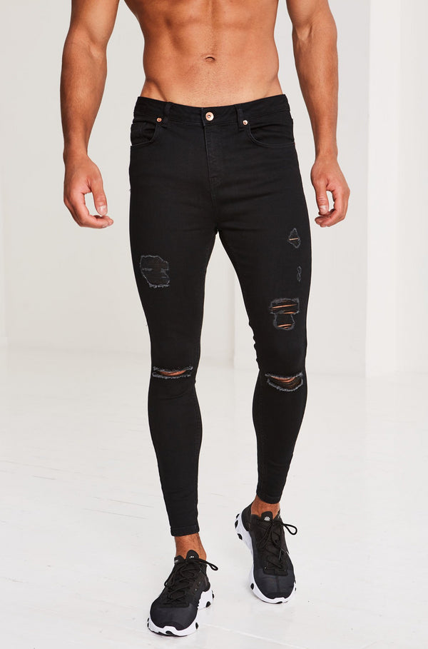BLACK RIPPED & REPAIRED JEANS