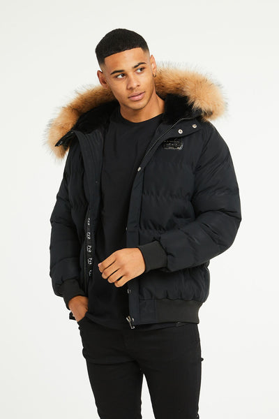 Rennes Fur Puffa - Black