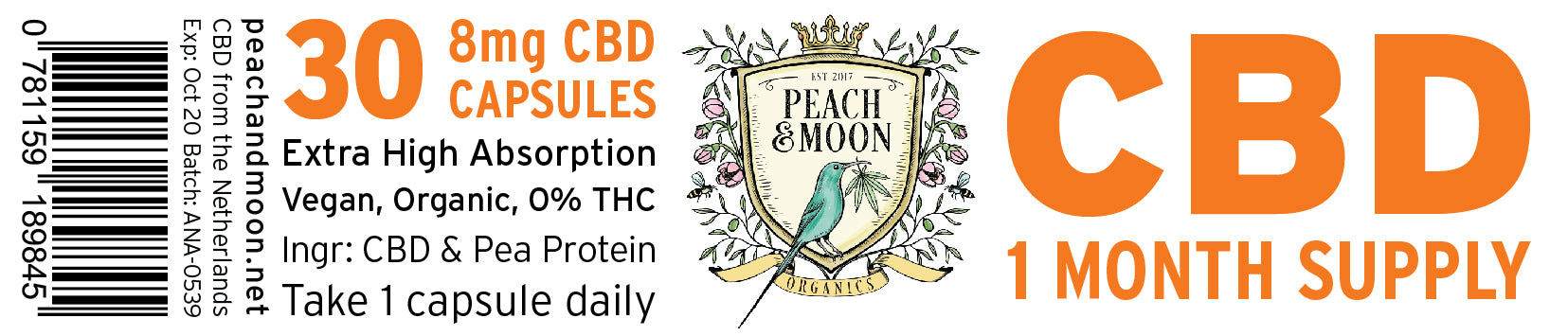 Distribution: CBD Capsules (30) - Peach & Moon Organics