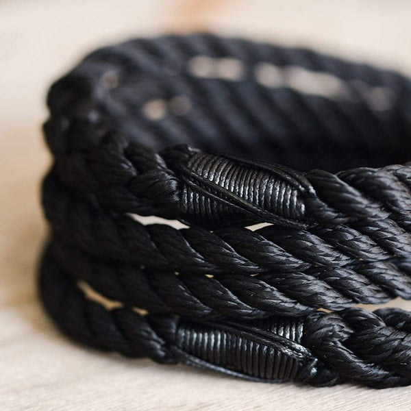 Pitch Black Rope Dog Lead - The Stately Hound