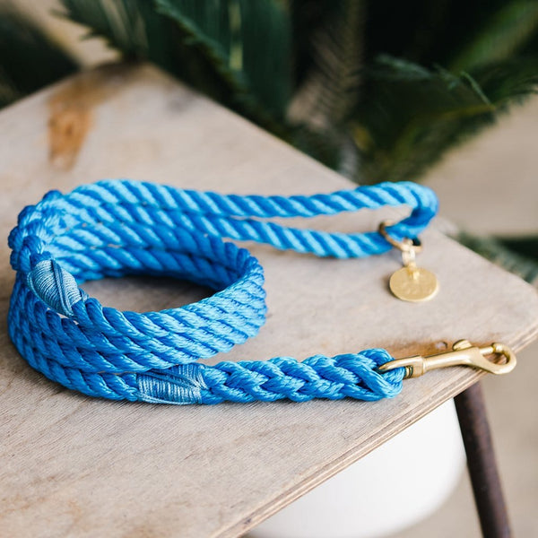 Cobalt Blue Rope Dog Lead - The Stately Hound