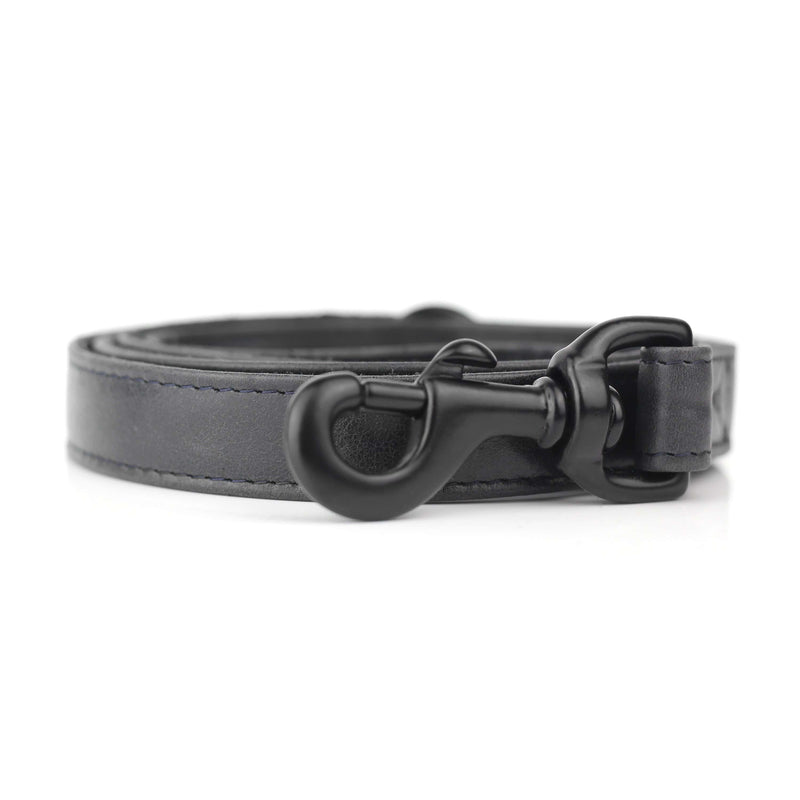 Black Hand Stitched Leather Dog Leash - The Stately Hound