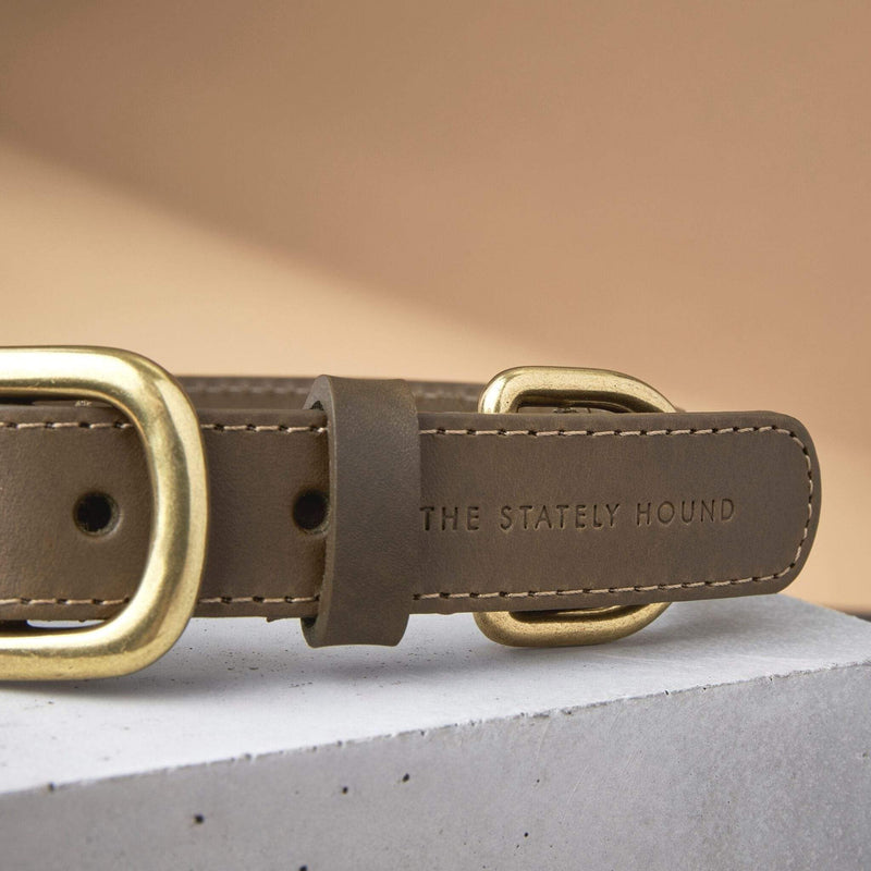 The 'Seasalter' Leather Dog Collar in Khaki Green