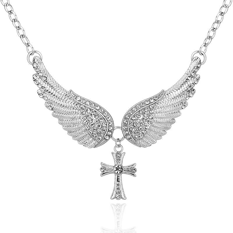 necklaces products brightly beautiful pendants women for necklace angel cross wings gifts sales statement hot choker