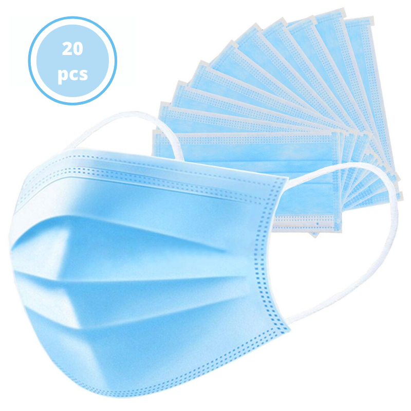 iRyno Earloop 3 Layered Face Masks - 20 Pcs
