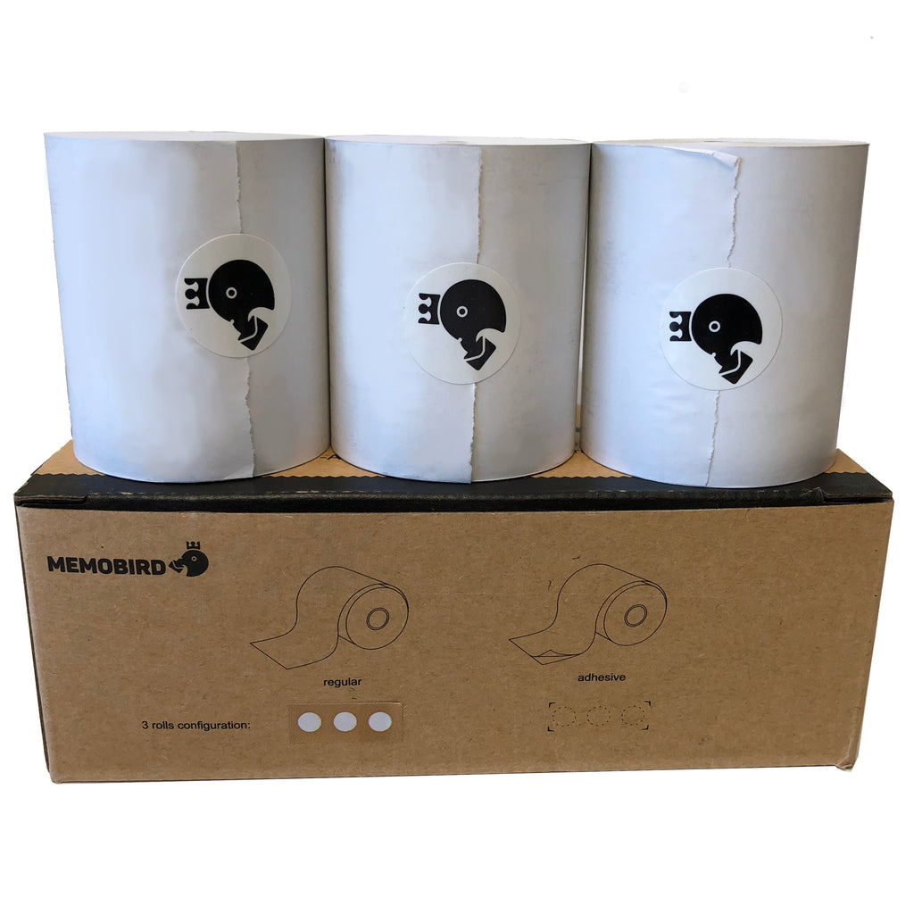 Memobird Official Replacement Paper, White Regular 3-roll Pack