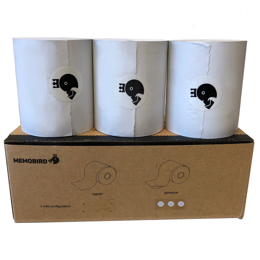 Memobird Official Replacement Paper, White Sticker 3-roll Pack