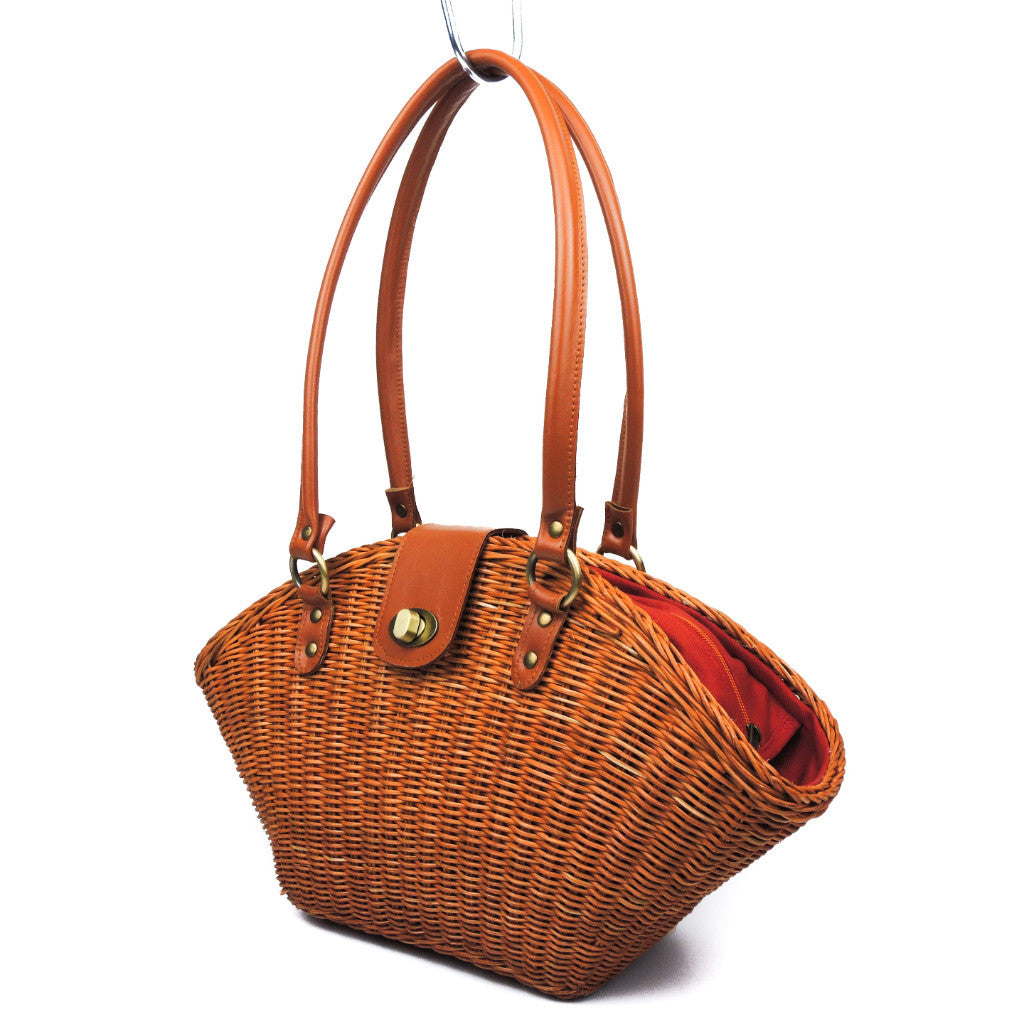 Rattan Fan Shoulder Bag (Genuine Leather)
