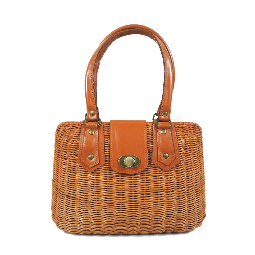 Rattan Tall Handbag (Genuine Leather)