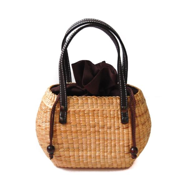 Water Hyacinth Leather Handle Purse