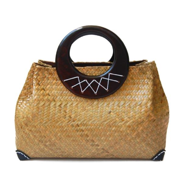 Straw Wooden Handle Handbag