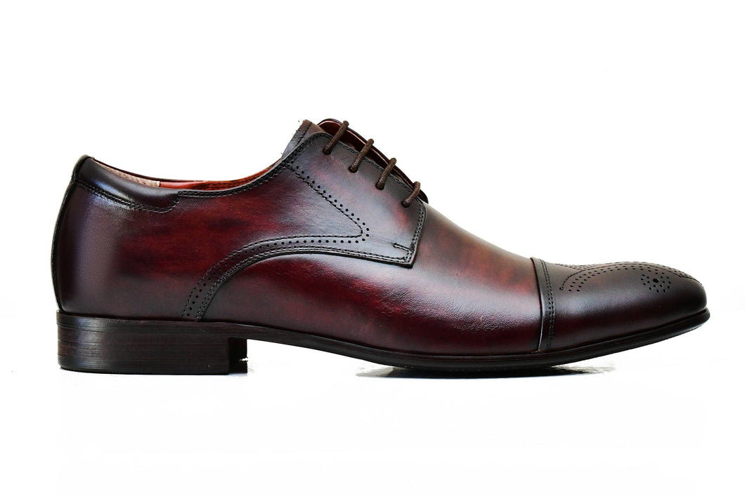 Cow Blood Foremen Leather Half Brogue leather shoes with Lace-up type closure and rubber sole