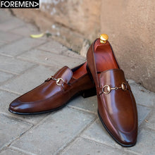 Coffee brown leather foremen slip-on dress shoe with bespoke gold detail and rubber sole