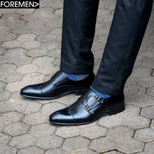 Black Foremen Leather Double Monk Strap with Buckle type closure and rubber sole.