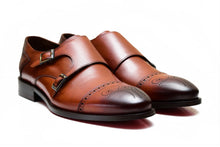Brown Foremen Double Monk-Strap with a buckle type closure and leather sole