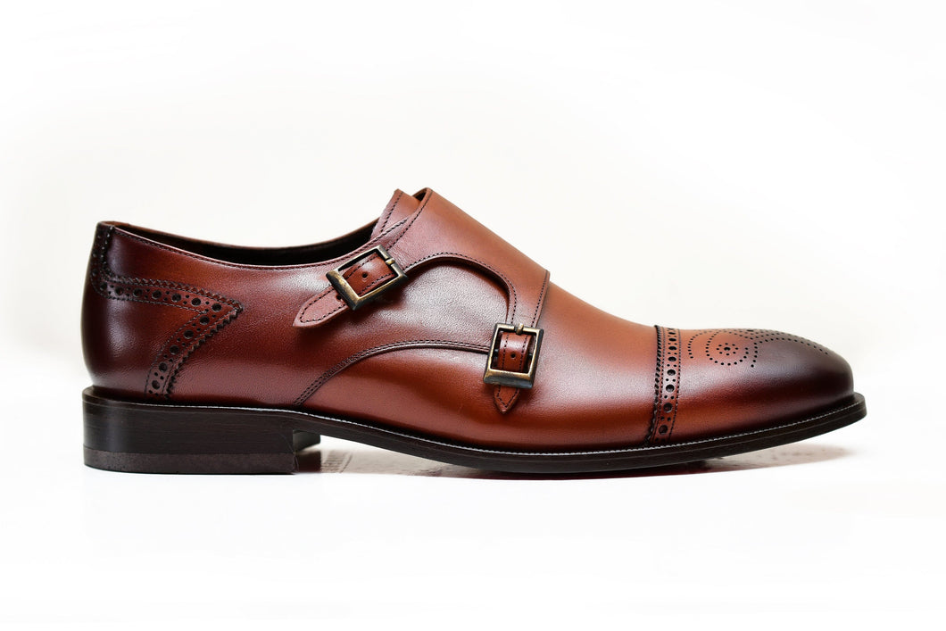 BOLOGNA | Brown double monk strap shoes