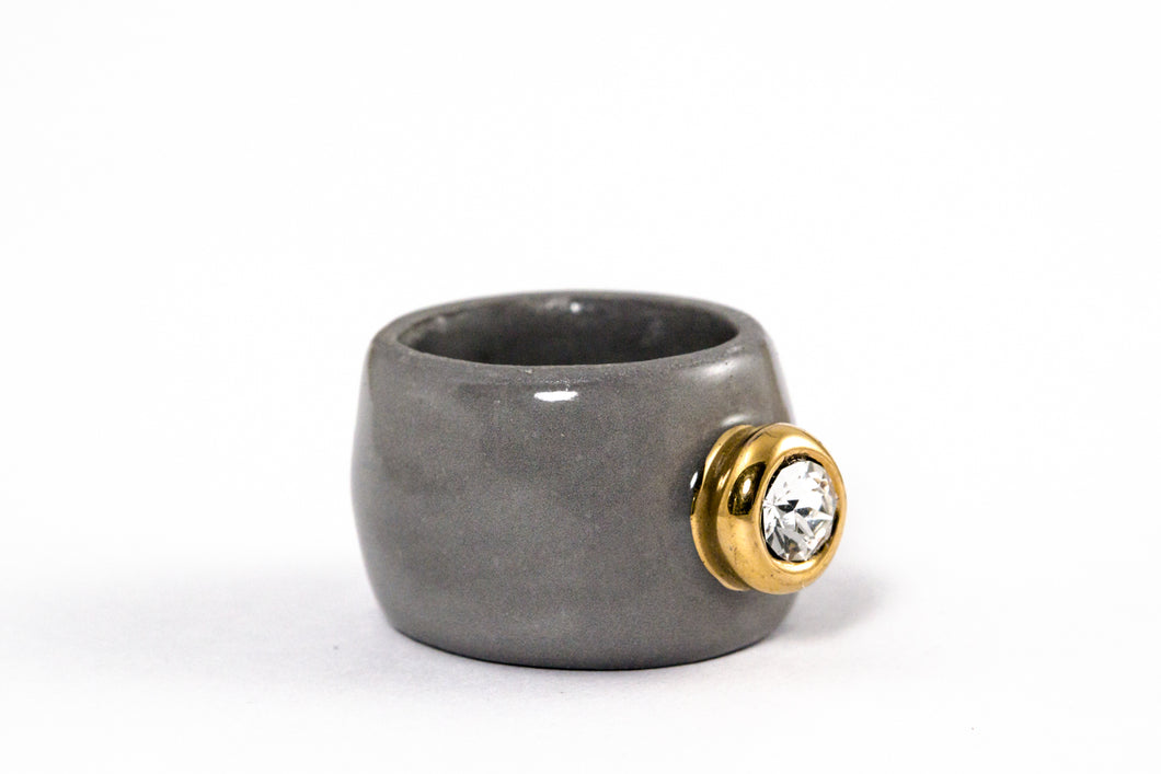 Porcelain Jewelry - Gold Plated Gray Porcelain Ring With Medium Crystal Swarovski