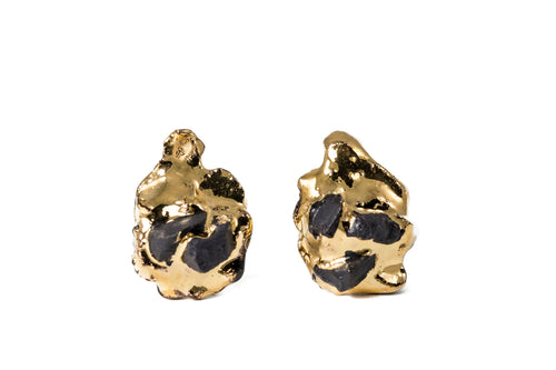Black Porcelain Earrings With Gold