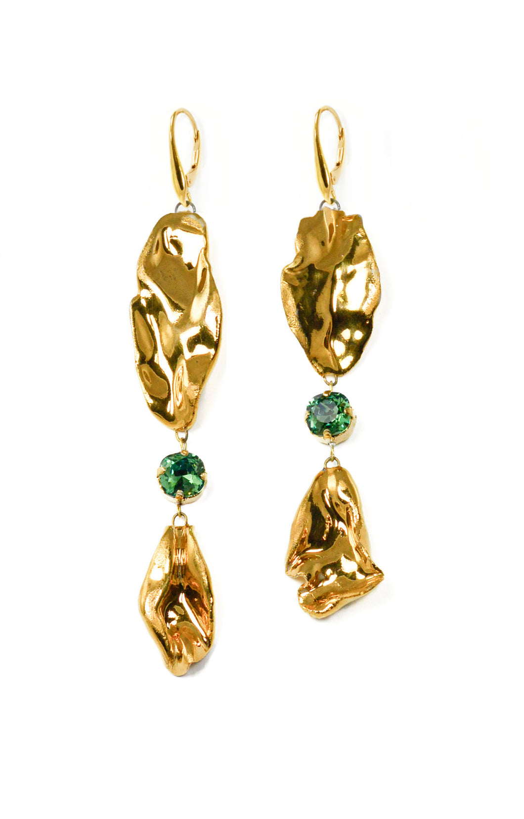 Gold Porcelain Earrings With Swarovski