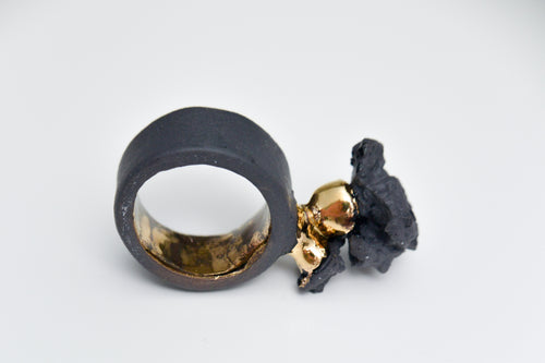 Black Porcelain Ring - Gold Plated Organic