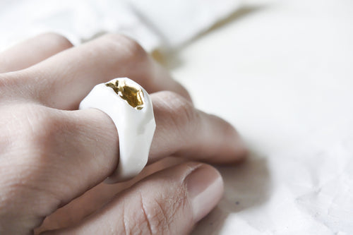 White And Gold Geometric Ring